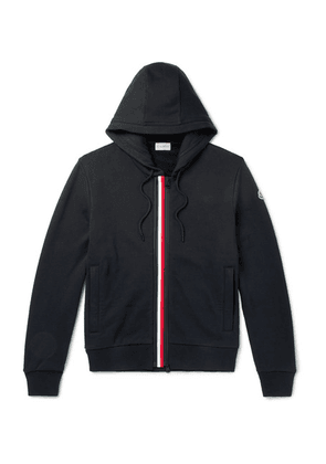 Moncler - Striped Fleece-back Cotton-jersey Hoodie - Navy