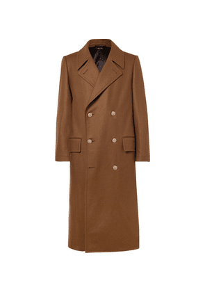 Dunhill - Slim-fit Double-breasted Stretch Wool And Cashmere-blend Overcoat - Brown
