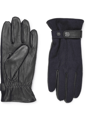 Dents - Flannel And Leather Gloves - Navy