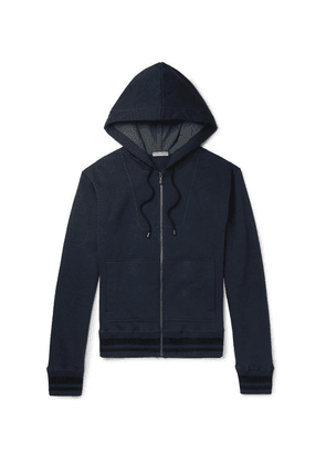 Bottega Veneta - Fleece-back Cotton-blend Jersey Zip-up Hoodie - Navy