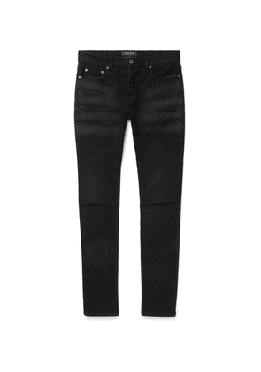 Valentino - Distressed Marble-washed Stretch-denim Jeans - Black