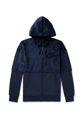 Nike - Fleece And Cotton-blend Jersey Zip-up Hoodie - Navy