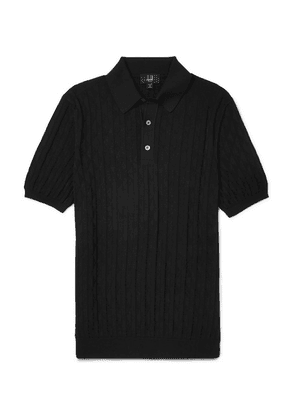 Dunhill - Slim-fit Cotton-jacquard Polo Shirt - Black