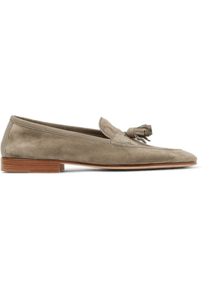 Edward Green - Portland Leather-trimmed Suede Tasselled Loafers - Gray green
