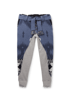 Alanui - + Greg Lauren Tapered Panelled Cashmere-intarsia And Loopback Cotton-jersey Sweatpants - Blue