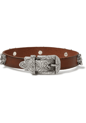 Gucci - Burnished-leather And Silver-tone Bracelet - Brown