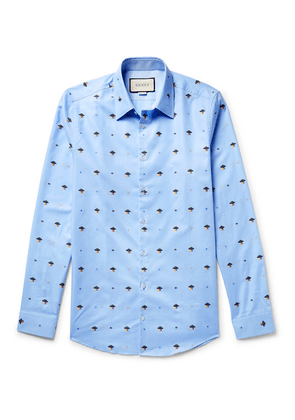 Gucci - Slim-fit Embroidered Cotton Shirt - Blue