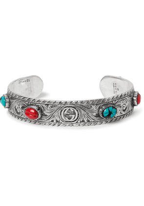 Gucci - Tiger Head Sterling Silver Turquoise Cuff - Silver