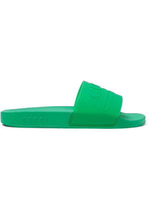 Gucci - Logo-embossed Rubber Slides - Bright green