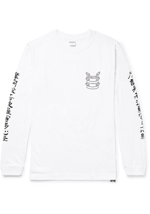 Blackmeans - Slim-fit Printed Cotton-jersey T-shirt - White