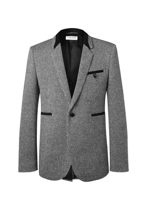 Saint Laurent - Slim-fit Suede-trimmed Virgin Wool-blend Tweed Blazer - Gray