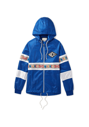 Gucci - Striped Mesh And Satin Hooded Bomber Jacket - Blue