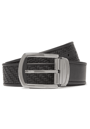 Ermenegildo Zegna - 3.5cm Black Reversible Pelletessuta Leather Belt - Black