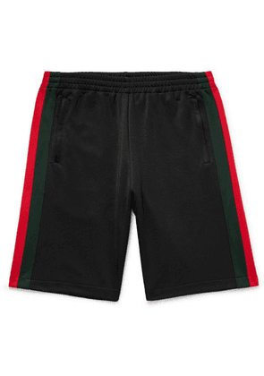 Gucci - Wide-leg Webbing-trimmed Jersey Shorts - Black