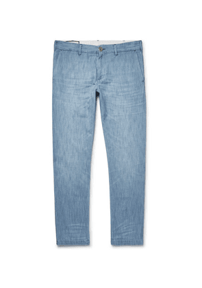 Gucci - Cropped Slim-fit Embroidered Cotton-chambray Trousers - Blue