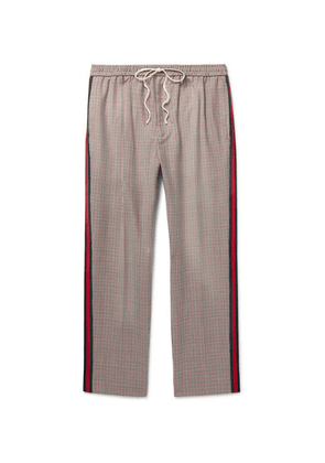 Gucci - Webbing-trimmed Puppytooth Wool And Mohair-blend Drawstring Trousers - Neutral