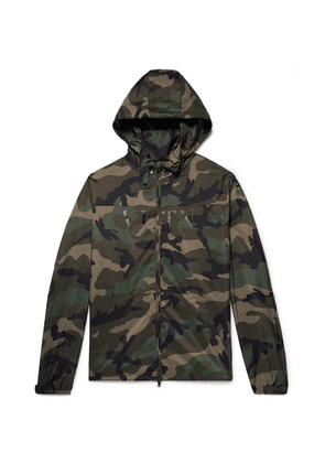 Valentino - Camouflage-print Shell Hooded Jacket - Army green