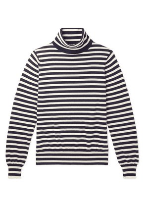 Connolly - Riviera Striped Cashmere Rollneck Sweater - Navy