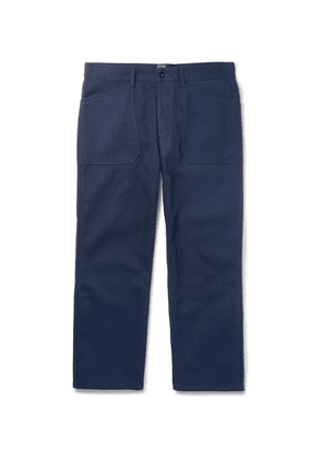 Connolly - Cropped Wide-leg Cotton-canvas Trousers - Navy