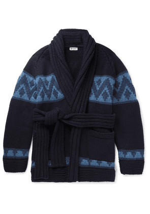 Connolly - Beach Belted Intarsia Cashmere Cardigan - Navy