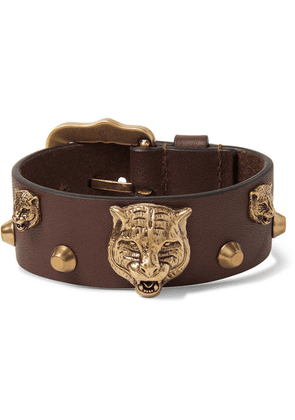 Gucci - Studded Leather And Burnished Gold-tone Bracelet - Tan