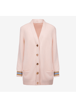 Bally Wool-Cashmere Long Cardigan Pink, Women's wool and cashmere blend cardigan in blush