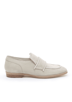 TALIB Moon Dry Suede Loafers with White Rope Binding