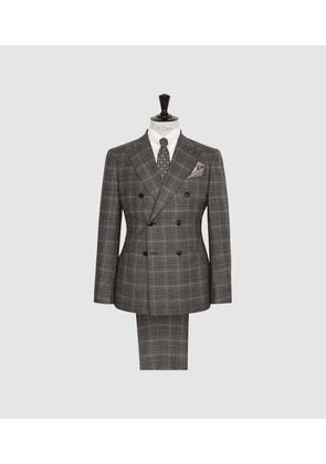 Reiss Trinity - Checked Double Breasted Suit in Charcoal, Mens, Size 36