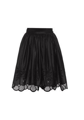Lace-trimmed cotton skirt