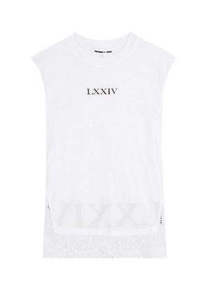 Lace-trimmed cotton sleeveless top