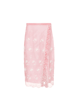 Floral-embroidered tulle skirt