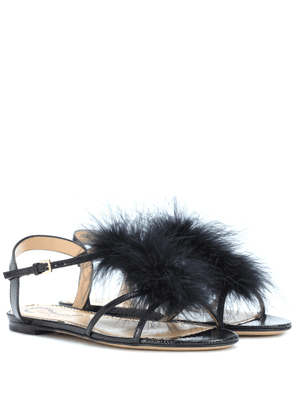 Fifi feather-trimmed leather sandals