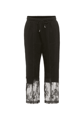 Lace-trimmed sweatpants