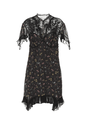Lace-yoke floral dress