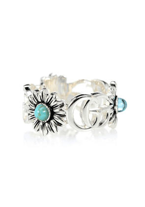Double G flower sterling silver ring with topaz and mother of pearl