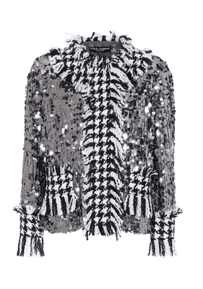 Sequined houndstooth jacket