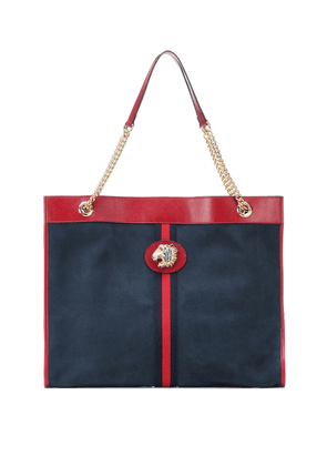Embellished suede tote