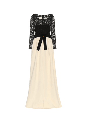 Lace and jersey gown