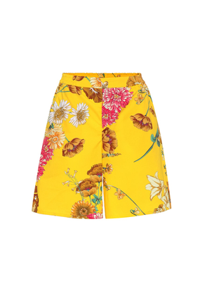 Floral-printed cotton shorts