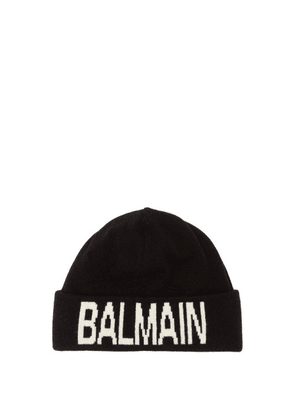 Balmain - Wool Blend Logo Beanie Hat - Mens - Black White