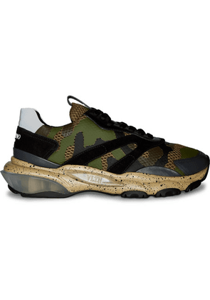 Valentino - Valentino Garavani Bounce Leather, Suede And Mesh Sneakers - Army green