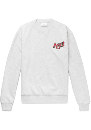 AMI - Logo-embroidered Mélange Loopback Cotton-jersey Sweatshirt - Gray