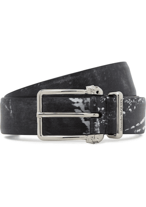 Alexander McQueen - 3cm Black Printed Matte-leather Belt - Black