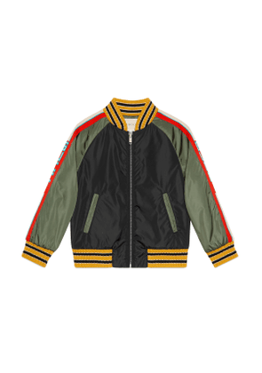 Children's nylon jacket with Gucci stripe