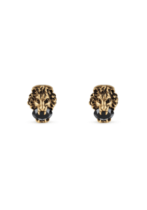 Lion head cufflinks with crystals