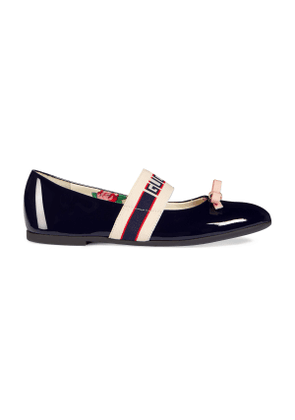 b060575408b Children s patent leather ballet flat with Gucci stripe