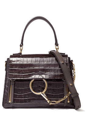 Chloé - Faye Day Small Croc-effect Leather Shoulder Bag - Dark brown