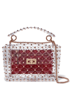 Valentino - Valentino Garavani The Rockstud Spike Medium Quilted Pvc Shoulder Bag - Red