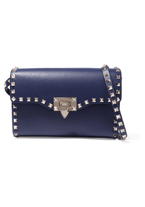 Valentino - Valentino Garavani The Rockstud Small Textured-leather Shoulder Bag - Blue