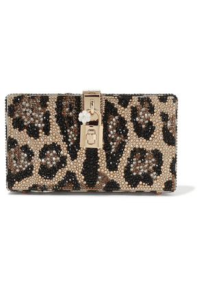 Dolce & Gabbana - Dolce Box Crystal-embellished Acrylic Clutch - Leopard print